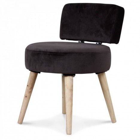 Petit fauteuil chaise velours gris foncé et pieds bois clair Lilie -