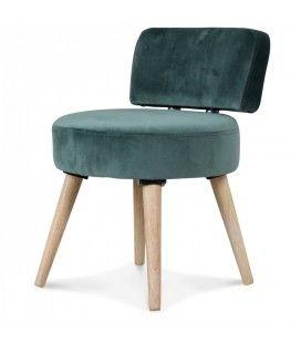 Petit fauteuil chaise velours vert et pieds bois clair Lilie
