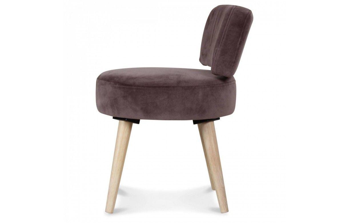 petit fauteuil chaise velours gris taupe et pieds bois clair lilie decome store. Black Bedroom Furniture Sets. Home Design Ideas