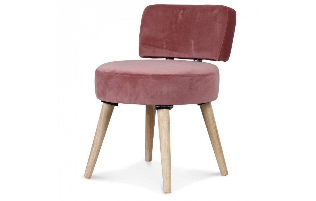 petit fauteuil chaise velours rose et pieds bois clair lilie decome store. Black Bedroom Furniture Sets. Home Design Ideas