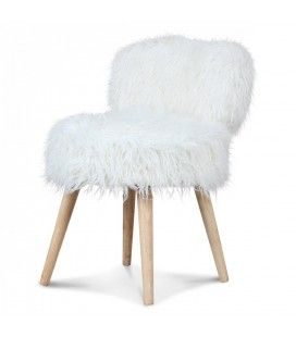 Chaise fauteuil cocooning blanc ultra doux fourrure Lilie