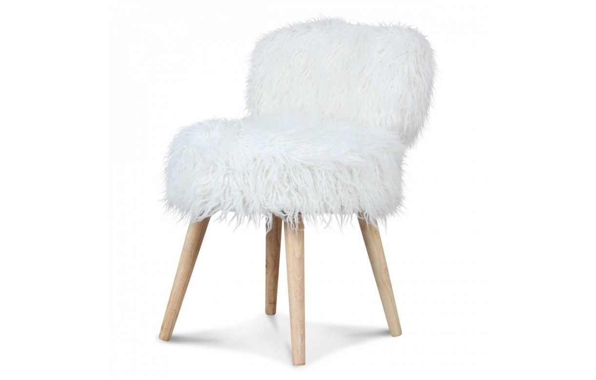 Chaise fauteuil fourrure blanc cocooning lilie