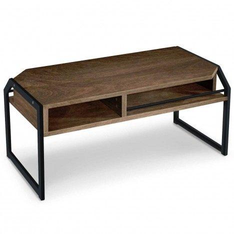 Table basse bois foncé et métal noir Laos -