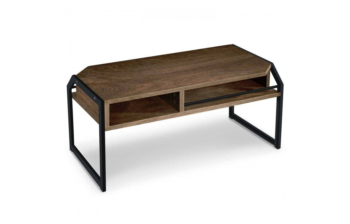 Table basse bois fonc et m tal noir for Table basse noir et bois