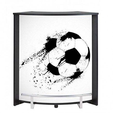 Comptoir meuble bar déco ballon foot bois clair noir ou blanc -