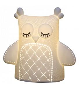 Lampe de chevet enfant Chouette blanche H.20 cm