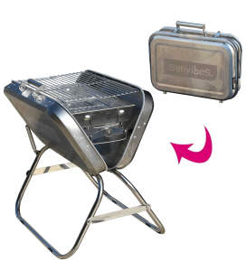 Barbecue pliable Valise en inox grand modèle Sunvibes -