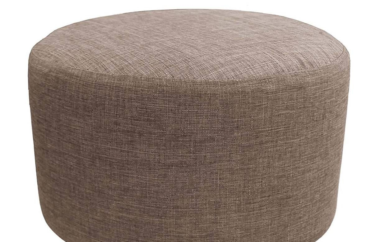 pouf tabouret en tissu effet lin taupe pieds bois nathan. Black Bedroom Furniture Sets. Home Design Ideas