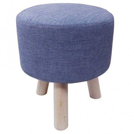 pouf tabouret en tissu effet lin bleu pieds bois nathan. Black Bedroom Furniture Sets. Home Design Ideas