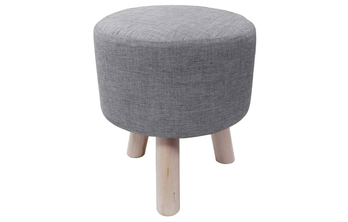 pouf tabouret en tissu effet lin gris clair pieds bois nathan. Black Bedroom Furniture Sets. Home Design Ideas