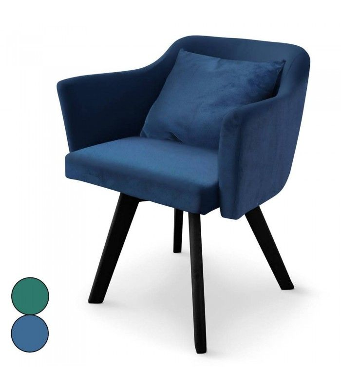 b4262a4dba396f Chaise fauteuil scandinave en velours bleu ou vert Dantes