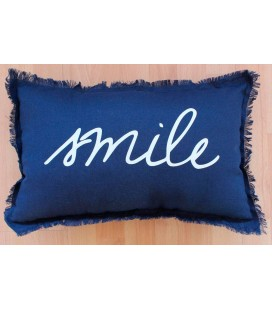 Coussin - 30 x 50 cm - Smile - Marine -