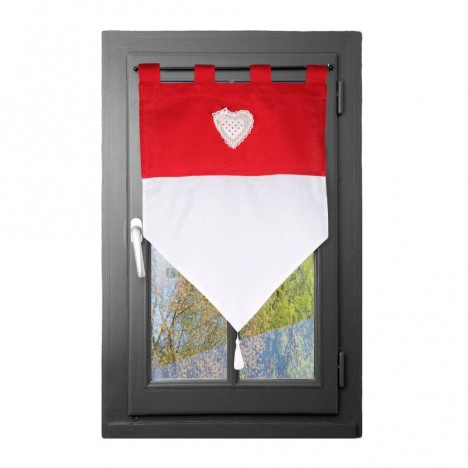 Rideau brise bise 60 x 90 cm v rone rouge decome store for Store ou rideau occultant pour fenetre