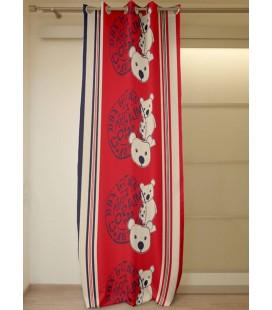 Panneau - Oeillets - 140 x 250 cm - Ourson - Teddy - Rouge -