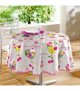 Nappe - Toile cirée ronde - diamètre 160 cm - Griottes roses