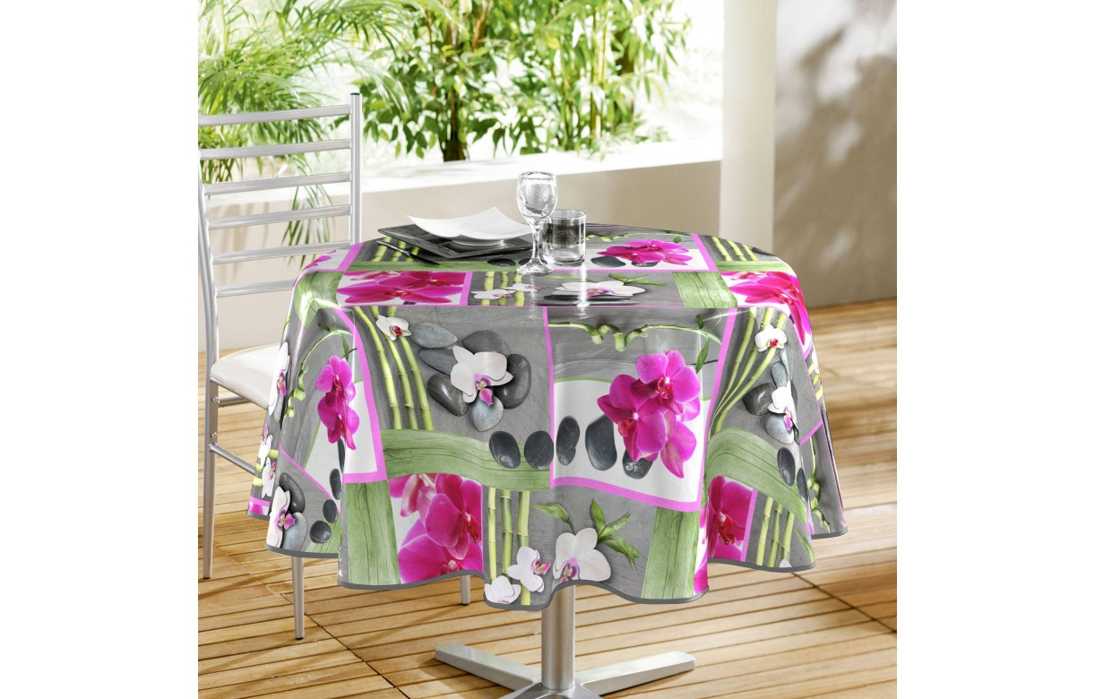 nappe toile cir e ronde diam tre 160 cm orchidee decome store. Black Bedroom Furniture Sets. Home Design Ideas