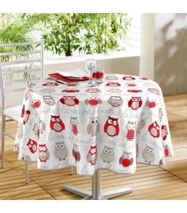Nappe - Toile cirée ronde - Ø 160 cm - Chouette rouge