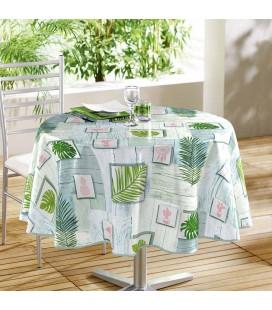 Nappe - Toile cirée - Ronde - Diam 160 cm - Bahia, palmiers et flamands roses -
