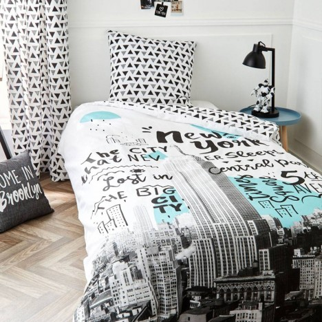 Housse de couette 140 x 200 cm taie new york central for Housse couette new york