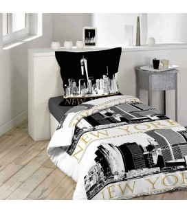 Housse de Couette - 140 x 200 cm + taie - New-York trendy -