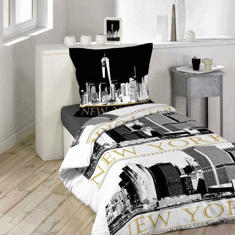housse de couette 140 x 200 cm taie new york trendy