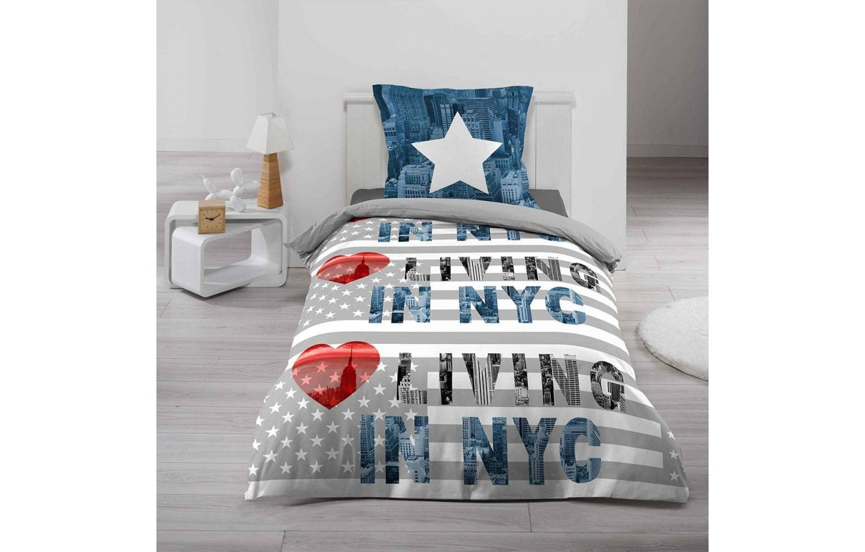 housse de couette 140 x 200 cm taie coeur de new york decome store. Black Bedroom Furniture Sets. Home Design Ideas