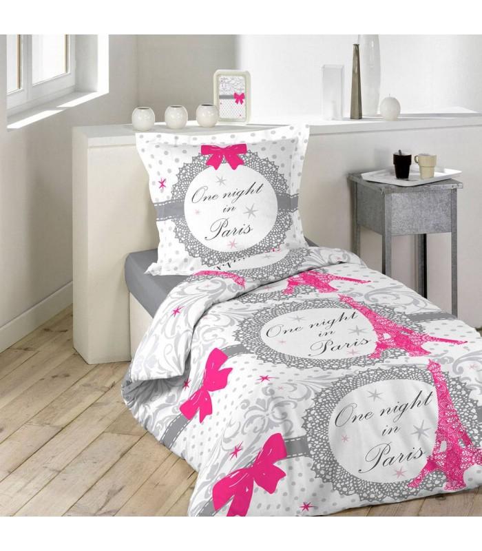 housse de couette 140 x 200 cm taie paris love decome store. Black Bedroom Furniture Sets. Home Design Ideas