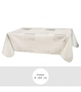 Nappe - Toile cirée ronde - Ø 180 cm - Vera - Blanc -