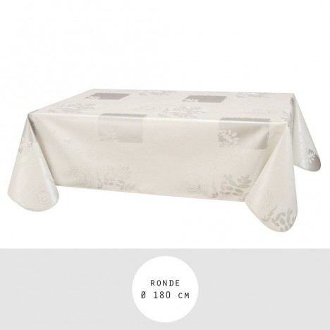 nappe toile cir e ronde 180 cm vera blanc. Black Bedroom Furniture Sets. Home Design Ideas