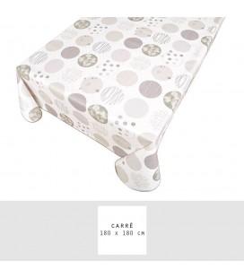 Nappe - Toile cirée - Carrée - 180 x 180 cm - Mixte - Blanc -