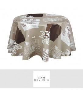 Nappe - Toile cirée - Carrée - 180 x 180 cm - Véra - Chocolat -