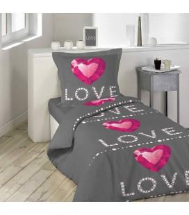 Housse de Couette - 140 x 200 cm + taie - Love rubis coeur -