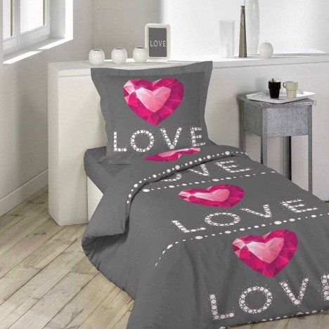 housse de couette 140 x 200 cm taie love rubis coeur. Black Bedroom Furniture Sets. Home Design Ideas