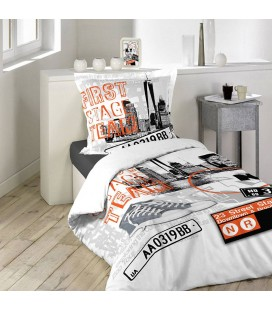 Housse de couette 140 x 200 cm taie solo gris for Housse couette new york