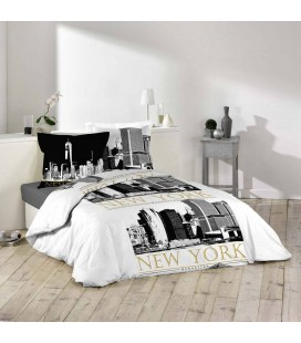 Housse de couette 220 x 240 cm taies attrape r ve for Housse clic clac new york