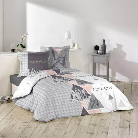 housse de couette 220 x 240 cm taies new york triangles decome store. Black Bedroom Furniture Sets. Home Design Ideas