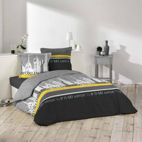 Housse de couette 220 x 240 cm taies tourisme new for Housse de couette ou couvre lit