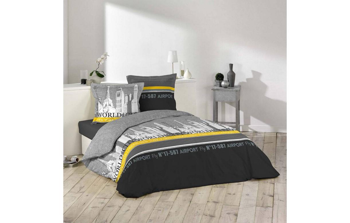 housse de couette 220 x 240 cm taies tourisme new york paris london decome store. Black Bedroom Furniture Sets. Home Design Ideas