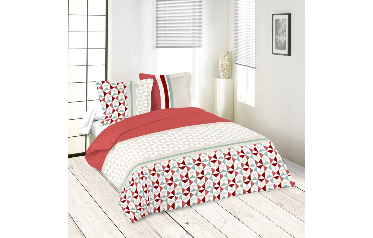 housse de couette 220 x 240 cm taies isoc le rouge. Black Bedroom Furniture Sets. Home Design Ideas