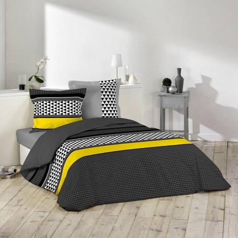 Housse de couette 220 x 240 cm taies issey decome for Housse de couette noir et jaune
