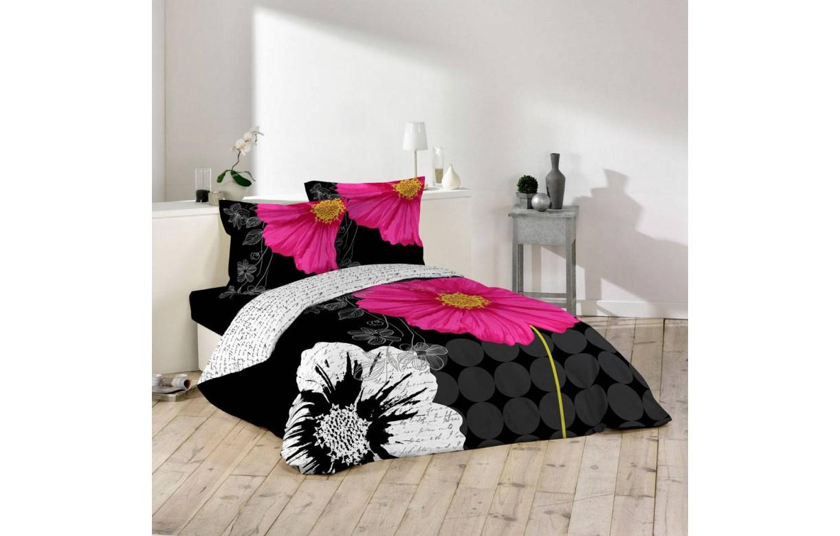 housse de couette 220 x 240 cm taies escada noir. Black Bedroom Furniture Sets. Home Design Ideas