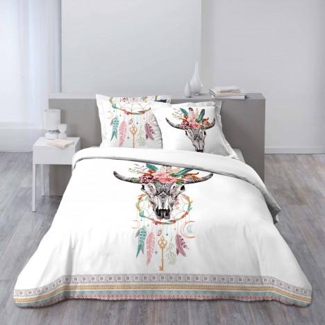 Housse de couette 220 x 240 cm taies boho cr ne de for Housse de couette ou couvre lit