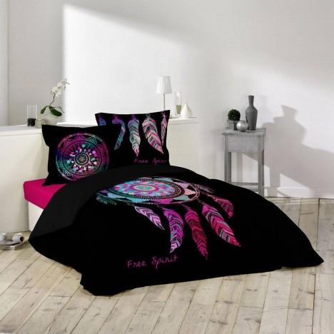 Housse de couette 220 x 240 cm taies porte bonheur for Housse de couette ou couvre lit