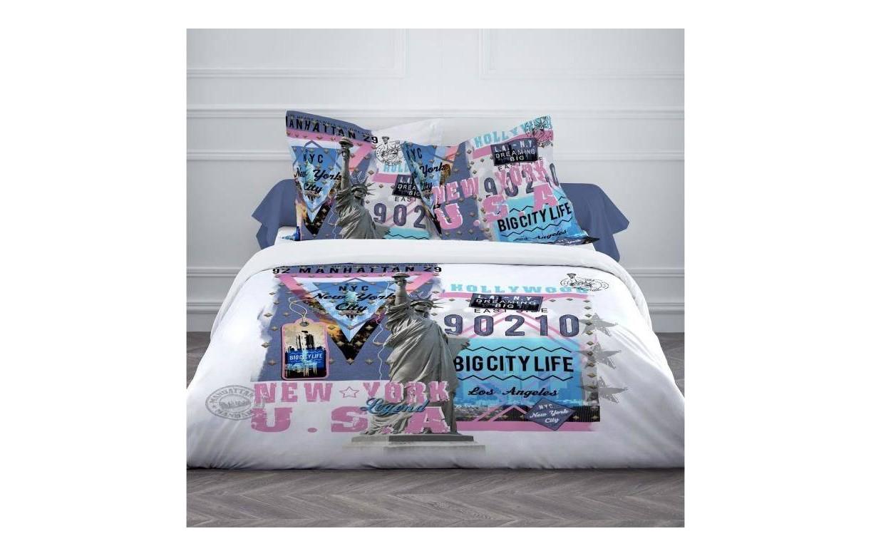 housse de couette 220 x 240 cm taies us legend. Black Bedroom Furniture Sets. Home Design Ideas