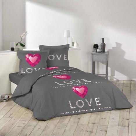 Housse de couette 240 x 260 cm taies love rubis for Housse de couette ou couvre lit
