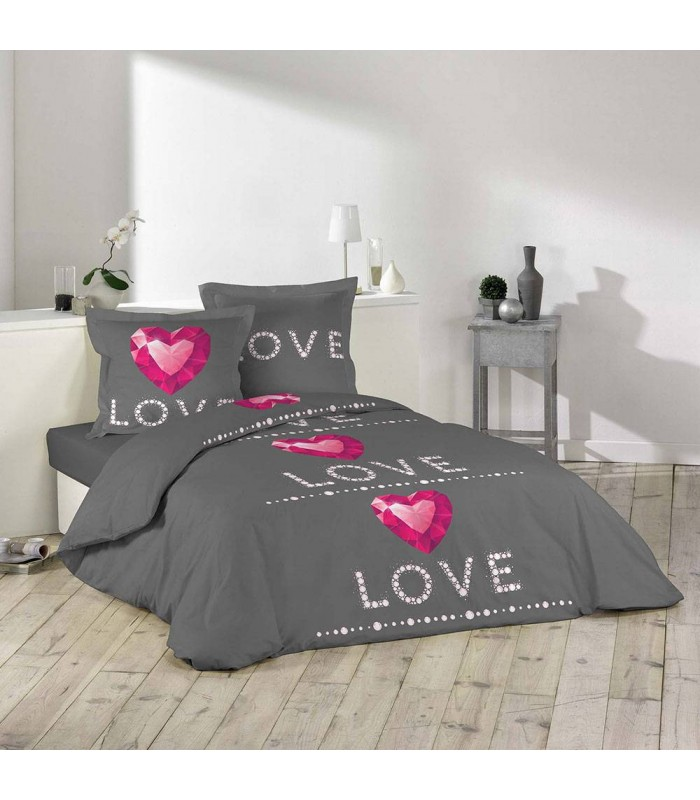 housse de couette 240 x 260 cm taies love rubis. Black Bedroom Furniture Sets. Home Design Ideas