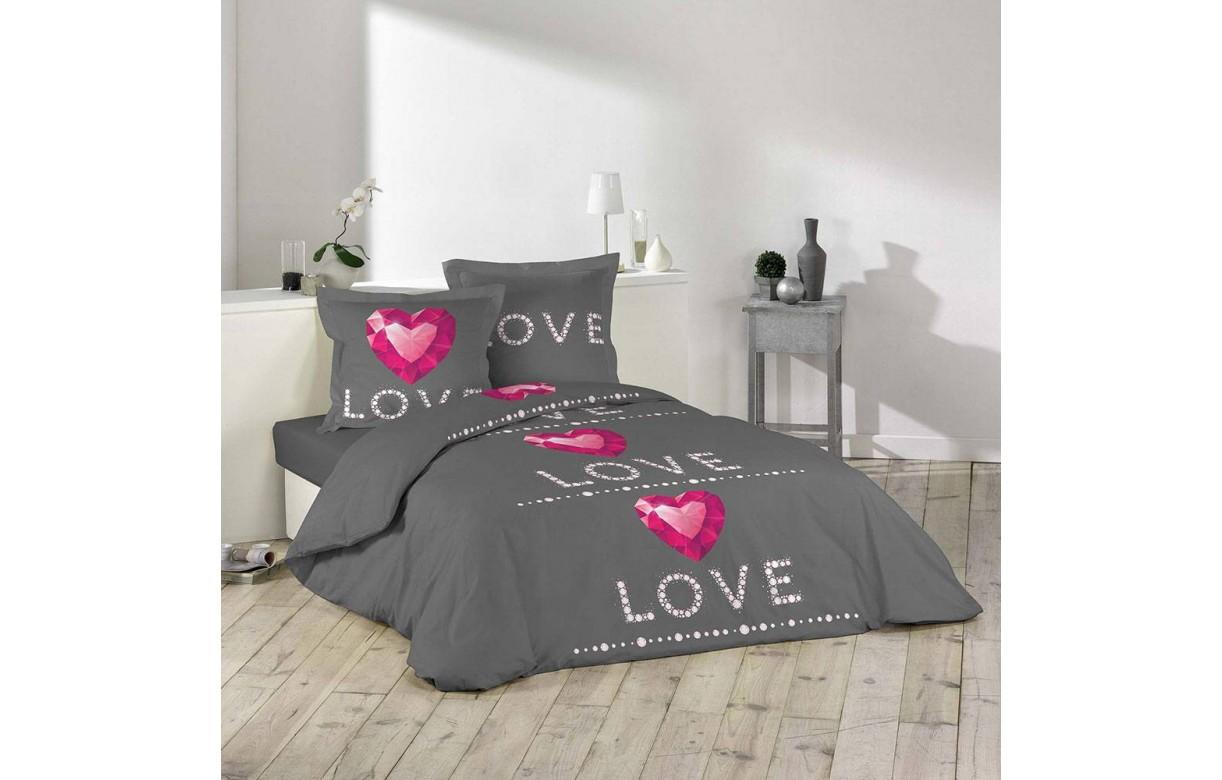 housse de couette 240 x 260 cm taies love rubis. Black Bedroom Furniture Sets. Home Design Ideas