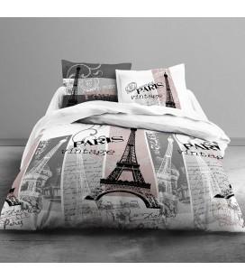 Housse de couette - 240 x 260 cm + taies - Paris vintage - Rose