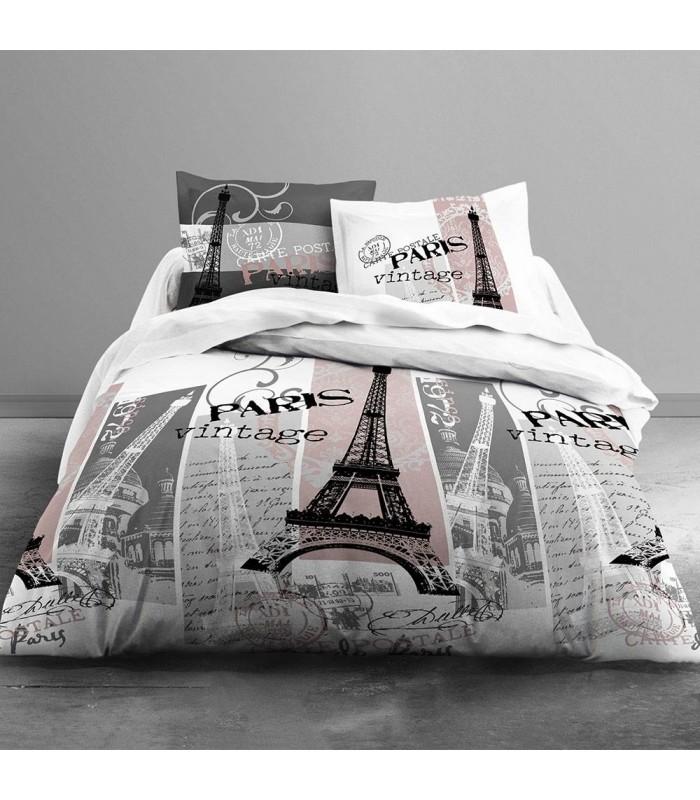housse de couette 240 x 260 cm taies paris vintage rose decome store. Black Bedroom Furniture Sets. Home Design Ideas
