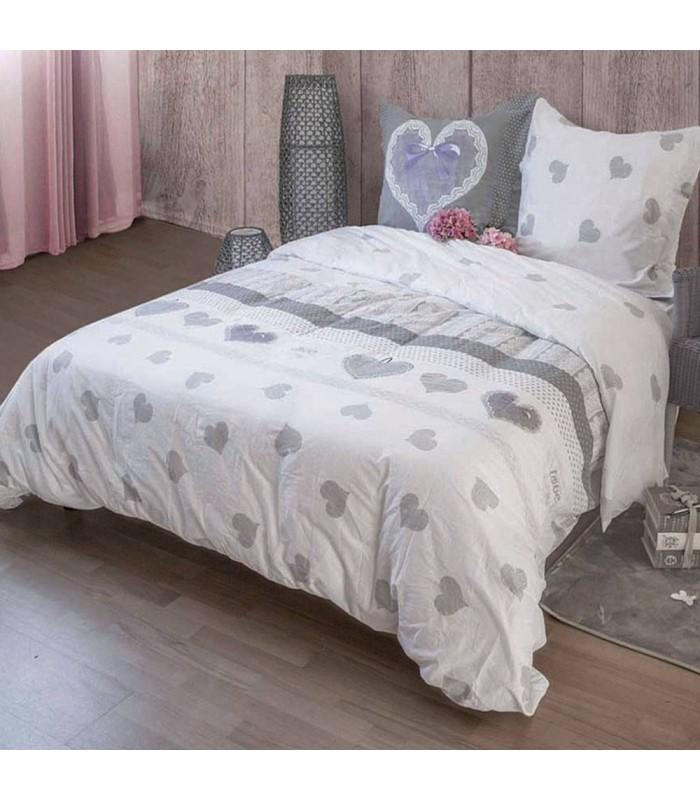 housse de couette 240 x 260 cm taies amour decome. Black Bedroom Furniture Sets. Home Design Ideas